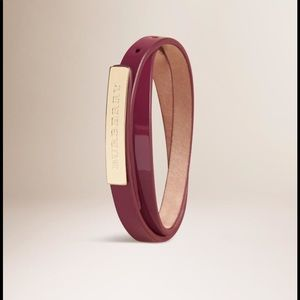 Burberry Leather Wraparound Bracelet Dark Cherry